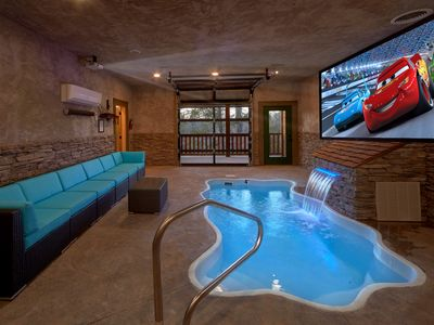 Photo for Escape to the ultimate honeymoon pool cabin with private indoor pool