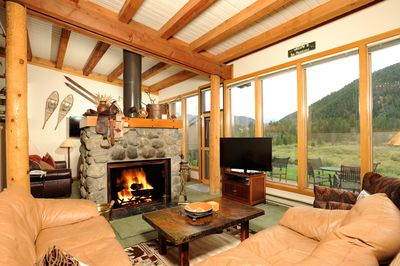 Kick back your feet and relax in the cozy living area. Views will vary.