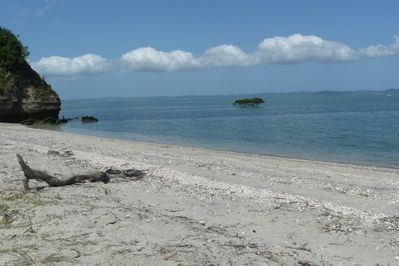 Your own private white sand beach at back beach