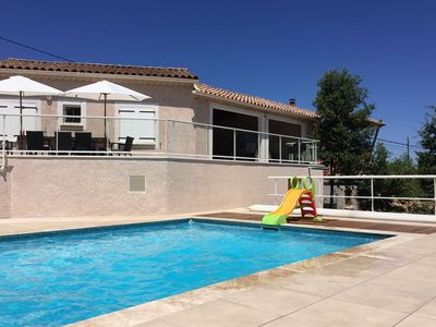 Photo for Modern villa with private pool located in the southern hills of the Ardeche
