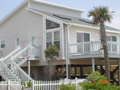 Photo for Modern beach cottage steps from ocean with pool & hot tub