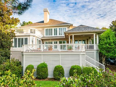 Photo for Gracious lakefront home w/ amazing deck & golf course views - near beach/tennis!