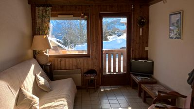 Photo for Apartment in Chalet au Bettex, facing Mont Blanc, 50 m from the slopes