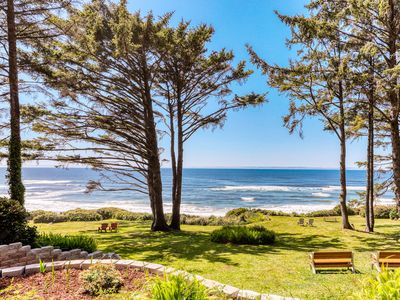 Photo for Modern oceanfront duplex with bay windows, private deck, and sea views