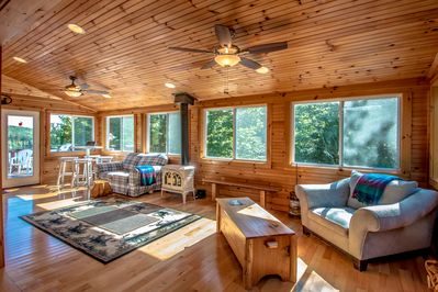 Enormous Sun Room w/ 16 Windows Allows Maximum Maine Sunshine w/ Rustic Pine