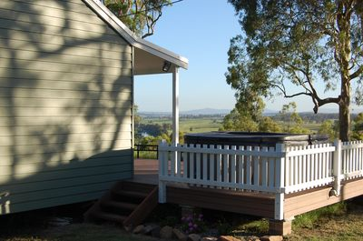 Stunning views down the Hunter River from the gorgeous outdoor spa
