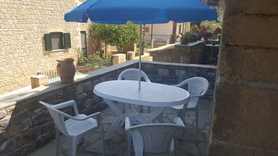 Photo for One bedroom house in Stoupa village Terrace & Balcony with Sea & Mountain views.