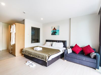Photo for U208 - Patong Studio with kitchen, pool and private patio.