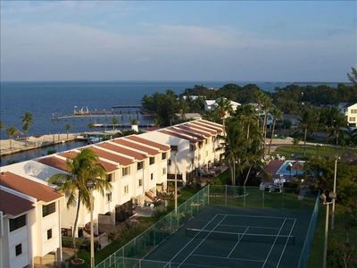 View from balcony of Florida Bay, pool and tennis courts