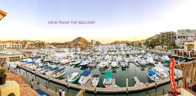 Incredible sweeping 180 degree view of the Yacht harbor from  the balcony