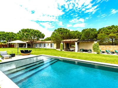 Deluxe Villa, St Tropez & Club 55 Beach Club, extensive pool with pool house