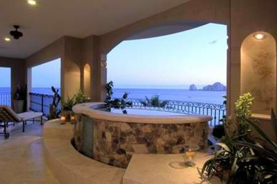 Enjoy the amazing views of Land's end while sipping a drink while in your private hot tub!