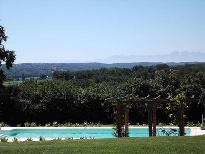 Pool and views of the Pyrenees