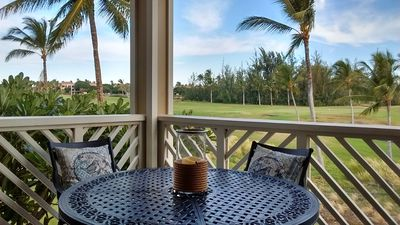 relax on lanai overlooking the golf course