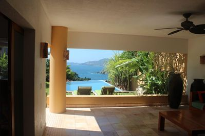 View from open air living room as you walk in.