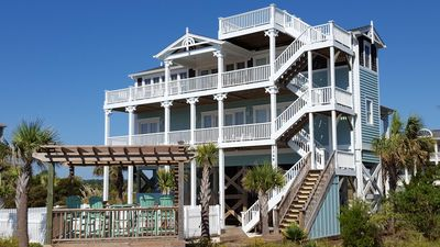 Paradise!! Rear view facing beach with pool, gazebo and 360 views from top deck