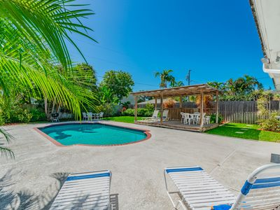 Photo for Beach Home Warm Private Pool+ Fenced Yard,Prime Location 4 min walk to sand