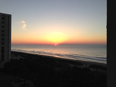 The morning sunrise from private balcony