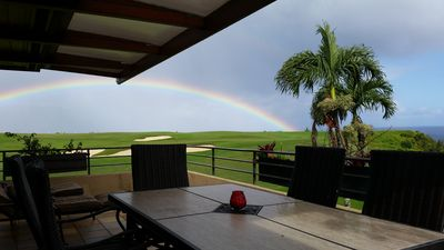 Lanai View of the Golf Course and Ocean With New Deck Furniture