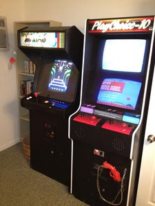 Two real arcade machines, a Multicade-60 and a Nintendo Playchoice-10
