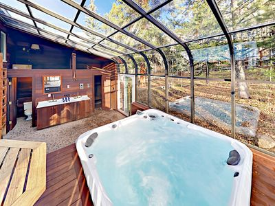 Greenhouse - The greenhouse is home to a private indoor hot tub and sauna.
