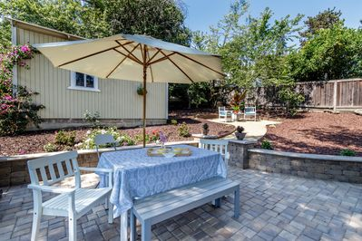Patio and backyard for your relaxing pleasure.
