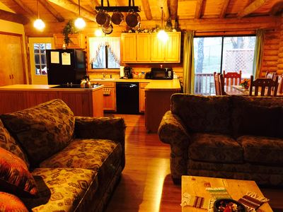 Photo for REAL LOG CABIN- true mountain feel - nice area for walks w/ OUTDOOR HOT TUB!