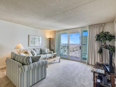 Photo for FREE DAILY ACTIVITIES! LINENS INCLUDED*!  2 bed, 2 bath condo w/ Balcony along living room offer a great northern ocean and bay views