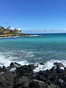 Photo for A/C Oceanfront view of Poipu,  the closest & largest house, 100 feet away
