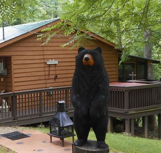 Over 8 ft. 'Bogo the friendly Bear', loves to have his picture taken.