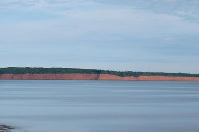 View of red cliff and Orwell bay