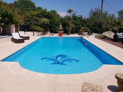 Photo for On the heights of Cannes, beautiful house, 3 bedrooms, pool