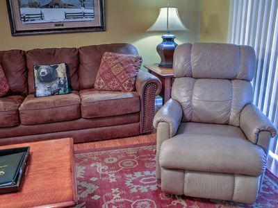 Photo for Covered Parking • 2 Leather Recliners • Sleeps 6 • Riverside