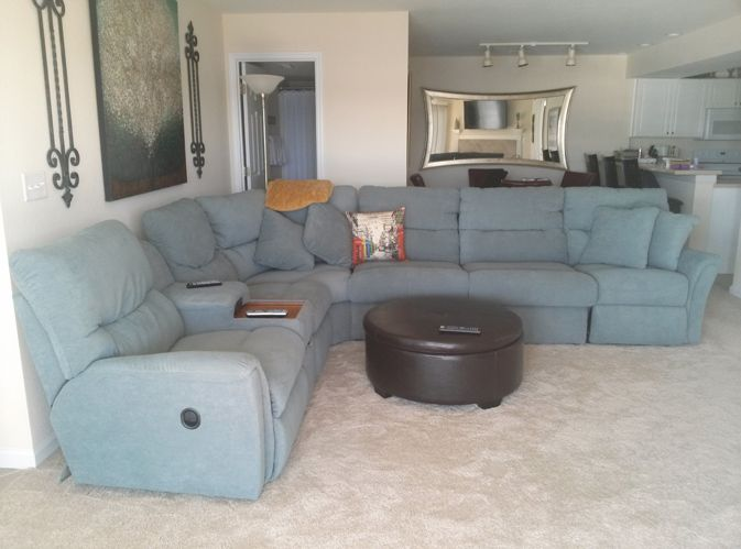 lazboy sectional includes 3 recliners and a fold out air bed - Temperpedic Bed