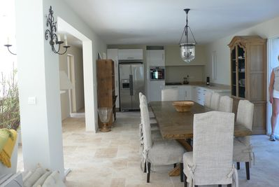 Open plan living area with superb kitchen