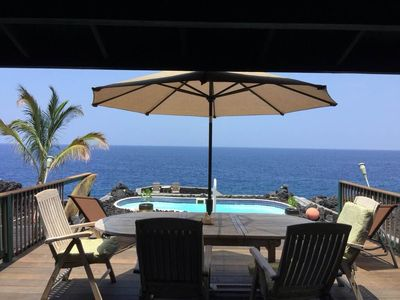 The lanai, our little solar heated pool, and the big, blue, beautiful ocean.
