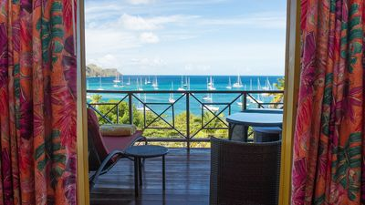 Flamingo villa stunning view of Princess Margaret Bay from master bedroom patio