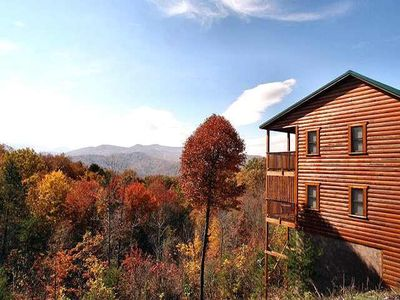 Photo for Take in panoramic mountain views in this  3 BR/3 BA log chalet with all the amenities. Hot Tub