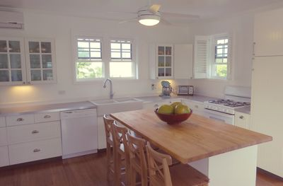 The kitchen is fully equipped and offers lots of counter space.