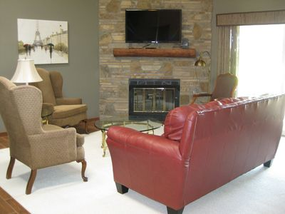 Living Room, TV and Fireplace