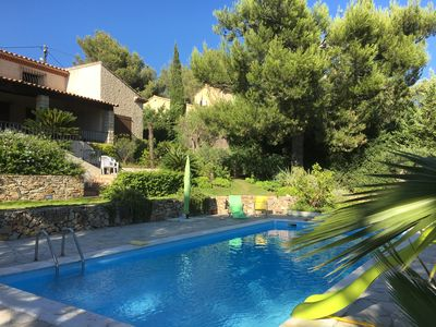 Photo for Large detached house Swimming pool 5 bedrooms sleeps 12 Quiet view but near vill