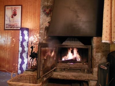 Woodburning fire in lounge.