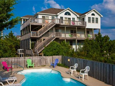 Photo for Spacious Semi-Oceanfront Getaway in Waves-Pool, Hot Tub, Game Rm, Steps to Beach