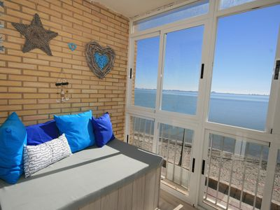 Photo for Luxury front line beach apartment, with amazing views accross the Mar Menor