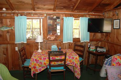 Inside dining, TV, and Wi-Fi.