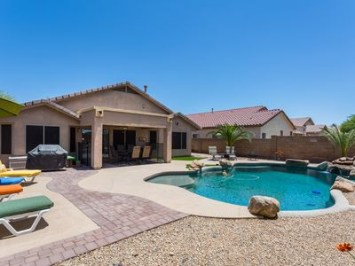 Photo for Outdoor Living at its Best!  3 bedroom, 2 bathroom home with pool, spa, fire pit