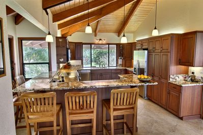 Gourmet kitchen from dining room view.