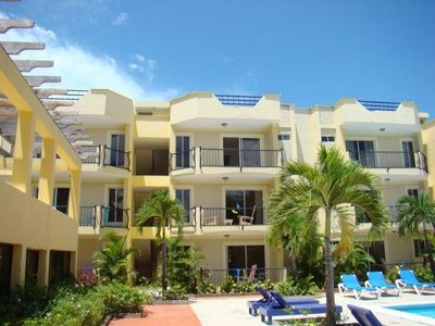 Photo for Guest-Friendly 2-bedroom penthouse with pool in the center of Sosua