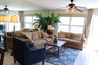 Our comfortable living room with a pullout sleeper sofa.