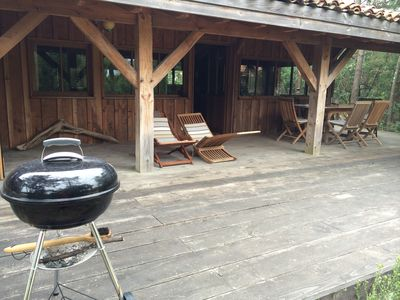 Photo for Wooden house - 50m from the Beach and current Huchet - 6 people